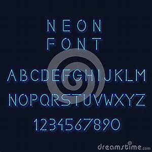 Neon Light Alphabet Vector Letters And Number Stock