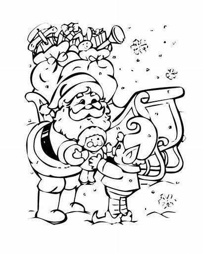Coloring Santa Elf Christmas Claus Pages Printable