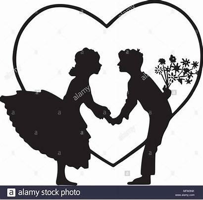 Lovers Silhouette Heart Clip Clipart Retro Illustration