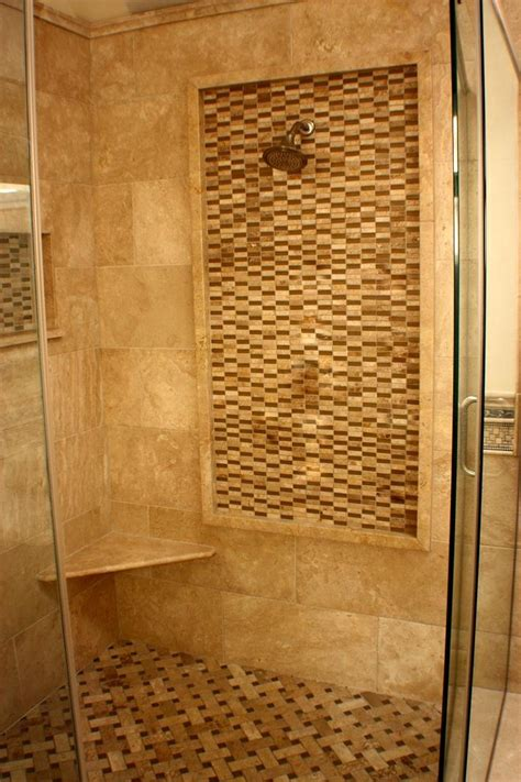 travertine shower  water feature wall tile work