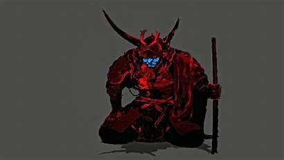 Samurai Mask Demon Oni Ronin Illustration Minimalism
