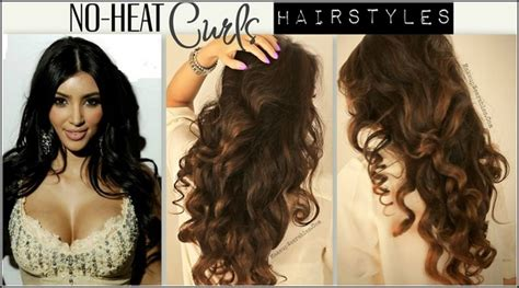 no heat kim kardashian curls hair tutorial video long