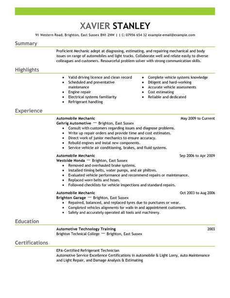Mechanical Resume Objective by Resume Objective Exles Mechanic Top 20 Mechanical