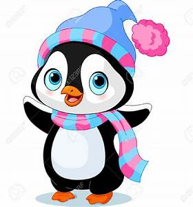 Cute winter penguin with hat and scarf Stock Vector ...