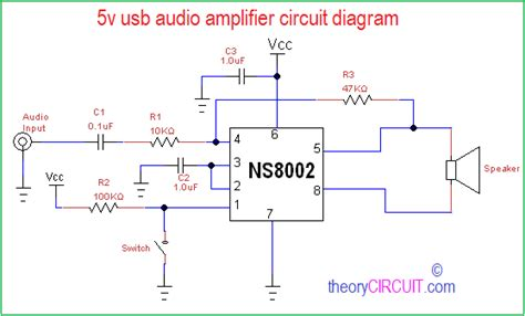 usb audio amplifier circuit diagram