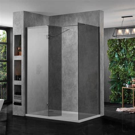 buy shower enclosure large walk in shower enclosure black glass 10mm inc tray and return panel buy online at bathroom