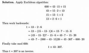 Modulo Inverse Berechnen : modular arithmetic euclidean algorithm to find inverse modulo mathematics stack exchange ~ Themetempest.com Abrechnung