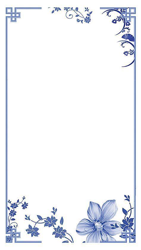 chinese style blue  white background border white