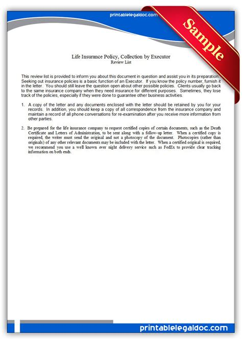 free printable executor of estate form free printable life insurance policy collection by