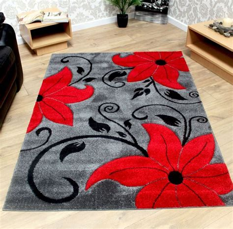 Grey Black and Red Modern Tulip Pattern Flower Rug - Sold