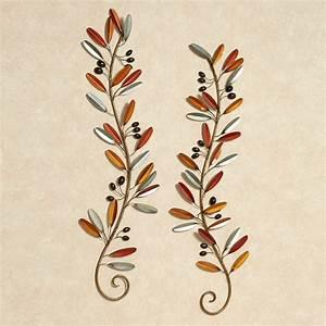 Metal wall art leaves branch : Fall medley leaf branch metal wall art set