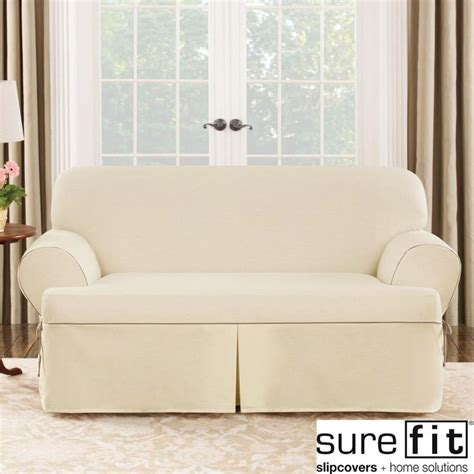 sure fit sofa covers sure fit contrast cord duck natural t cushion loveseat