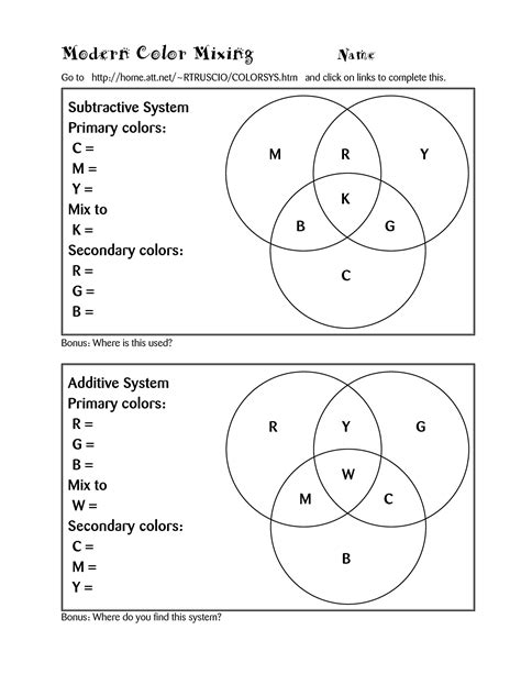 color theory worksheet color theory lessons computer color worksheet