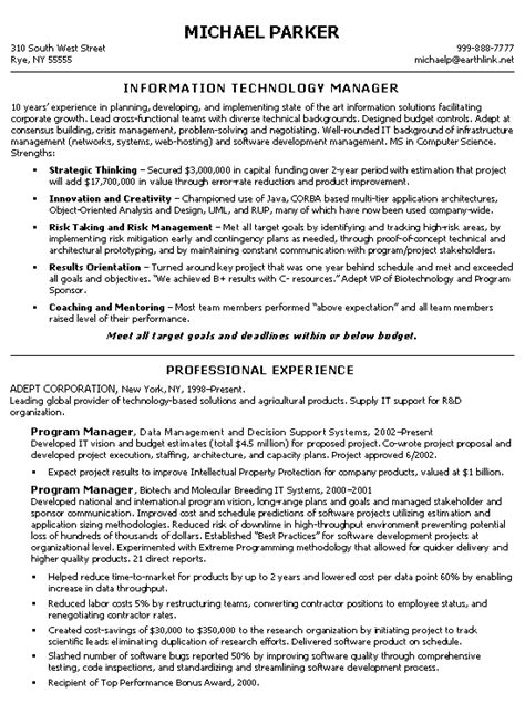 technical manager resume exle