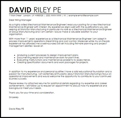 How To Write An Engineering Cover Letter by Mechanical Maintenance Engineer Cover Letter Sle