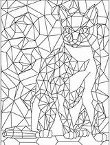 Coloring Pages Cat Adults Geometric Pattern Cats Colouring Printable App Apps Sheets Books Dog Dogs Looking 2b sketch template