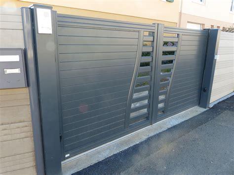 interphone de portail portail coulissant automatique aluminium gris ral7016 avec