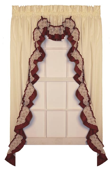 shirley country ruffled lace swag curtain set primitive