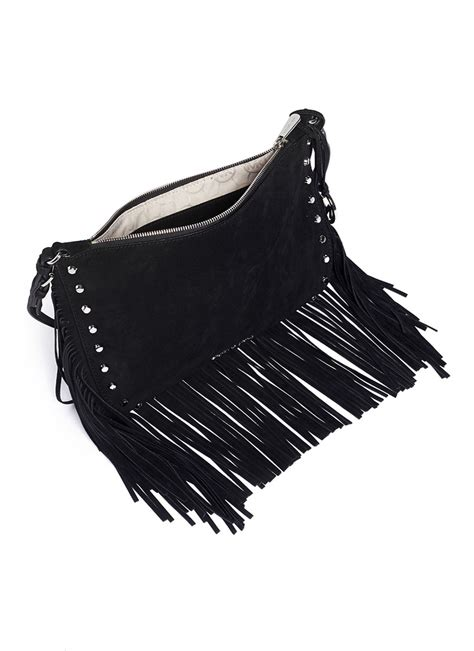 michael kors billy medium suede fringe shoulder bag  black lyst