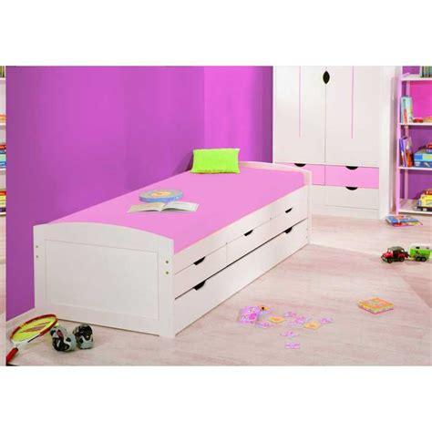 lit gigogne lit gigogne 90x190 cm avec tiroirs rangement colori