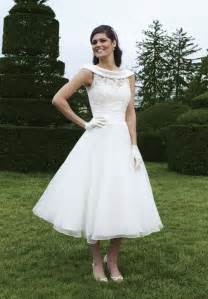 brautkleid discount vintage satin and lace wedding dress with tea length sang maestro