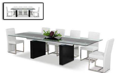 extension dining room tables modrest lisbon extendable glass dining table l angolo 7105