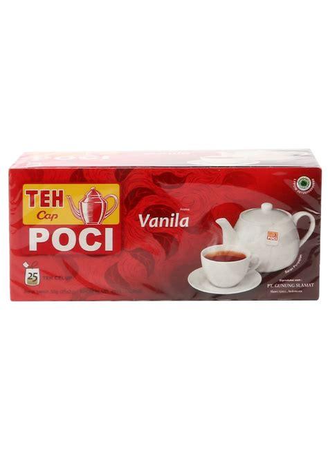 poci teh seduh vanila 50g poci teh celup vanilla box 25x2g klikindomaret