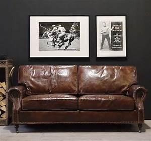 Ledercouch 3 Sitzer : vintage clubsofa ledersofa franklin 3 sitzer braun echt leder rindsleder vintage und englische ~ Indierocktalk.com Haus und Dekorationen