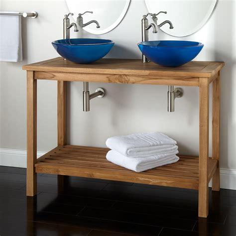 48 double vessel sink vanity 48 quot emzen teak double vessel sink console vanity bathroom