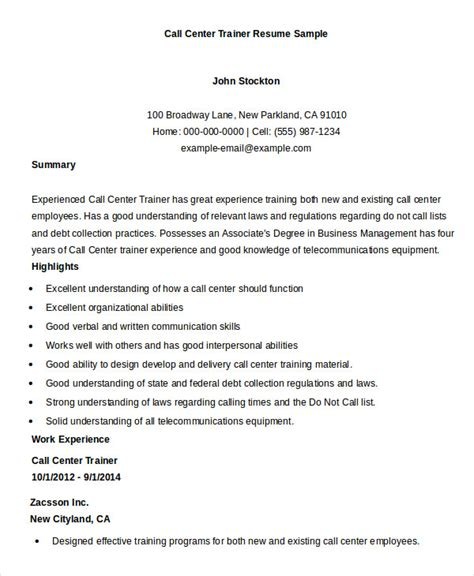 Resume Format For Call Center by Call Center Resume Templates 10 Free Printable Word