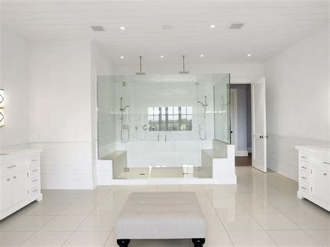 His And Shower by Light Gray Bathroom Wall Paint Colors Transitional