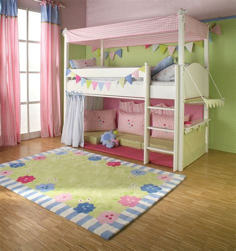 girls room floor l girls cabin bed with canopy curtains and cushions the