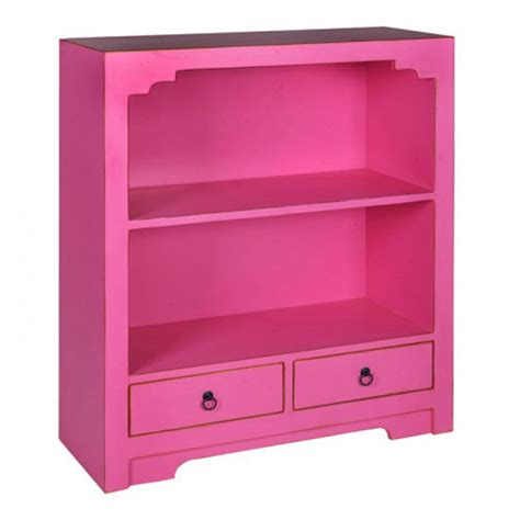 Anji 2 Drawer Low Bookcase In Pink 21338 Furniture In