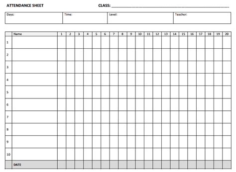 attendance sheet templates find word templates