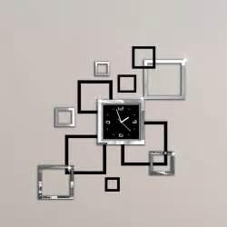 album argent  noir  diy miroir horloge murale design