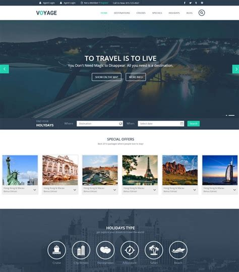 Tourism Website Design Free Templates by Voyage Html5 Template Travel