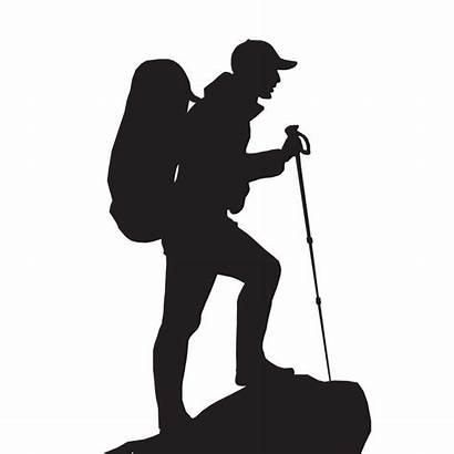 Silhouette Hiker Hiking Vector Camping Clipart Silhouettes