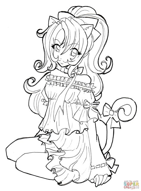 cat girl coloring page  printable coloring pages