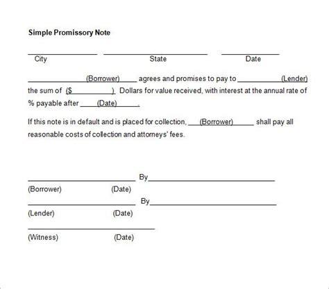 simple promissory note  interest template promissory