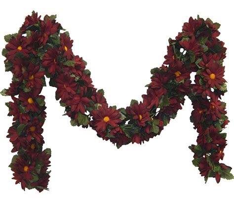 Burgundy ~ Daisies Chain Garland ~ 5 Ft Silk Wedding