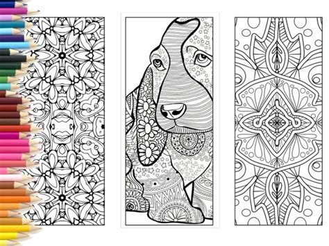 bookmarks coloring page adults printable bookmarks hand