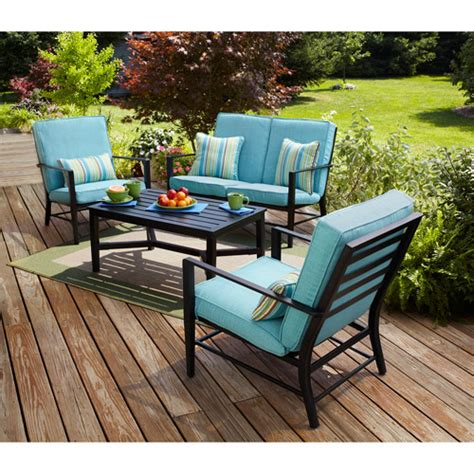 mainstays rockview 4 piece patio conversation set seats 4