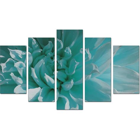 extra large flower canvas wall art piece teal