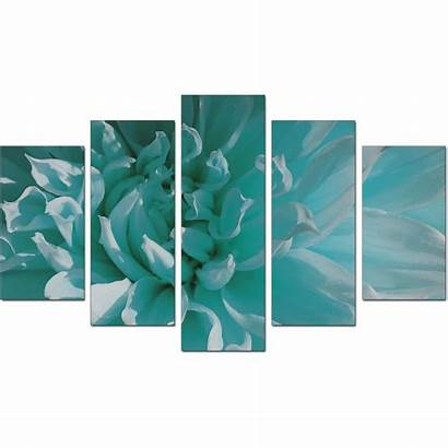 Canvas Teal Flower Piece Extra Wall Floral