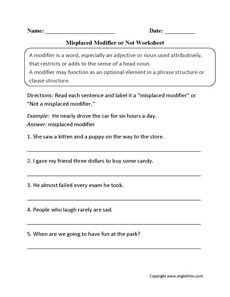 word usage worksheets using modifiers worksheets