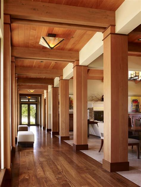column style floor ls contemporary open hallway with wooden columns and ceiling