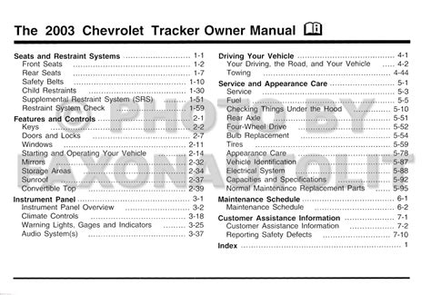 best car repair manuals 2003 chevrolet tracker electronic throttle control 2003 chevrolet tracker owner s manual original