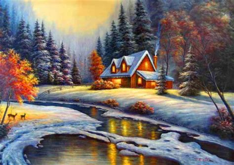 Winter Cottage Winter Cottage Other Abstract Background Wallpapers On
