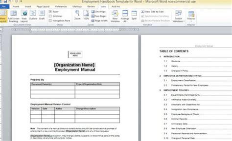 employment handbook template  word