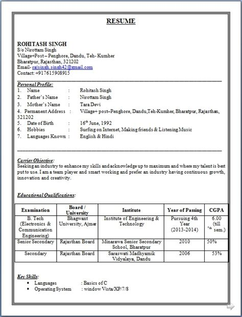 resume co resume sle of b tech electronics